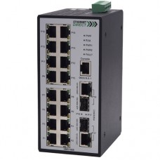 EthernetDirect Industrial 18 Port SNMP Managed Switch 16x 10/100TX, 2x Paired Gigabit UTP/SFP Ports - HMG-1628