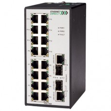EthernetDirect Industrial 18 Port Gigabit Ethernet Switch 16x 10/100 and 2x Paired Copper/SFP Ports - HUG-1628