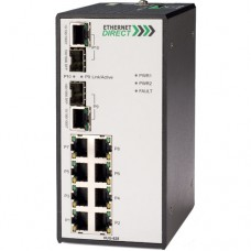 EthernetDirect Industrial 10 Port Gigabit Ethernet Switch 8x 10/100 and 2x Paired Copper/SFP Ports - HUG-828